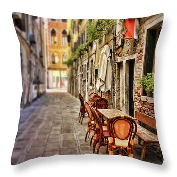 Sidewalk Cafe In Venice Throw Pillow by Sylvia Cook