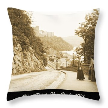 Sidewalk Conversation West Point New York 1914 Throw Pillow
