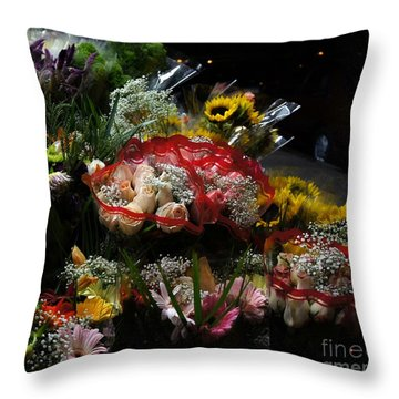 Throw Pillow featuring the photograph Sidewalk Flower Shop by Lilliana Mendez