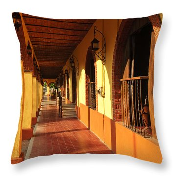 Sidewalk In Tlaquepaque District Of Guadalajara Throw Pillow by Elena Elisseeva