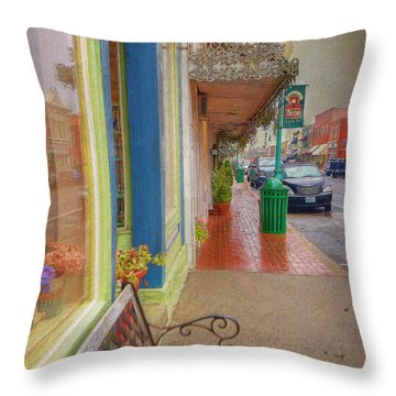 Sidewalk Shot Weston Missouri Throw Pillow by Liane Wright