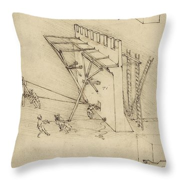 Siege Machine In Defense Of Fortification With Details Of Machine From Atlantic Codex Throw Pillow by Leonardo Da Vinci