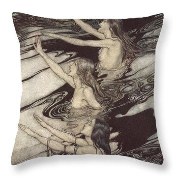 Siegfried Siegfried Our Warning Is True Flee Oh Flee From The Curse Throw Pillow by Arthur Rackham