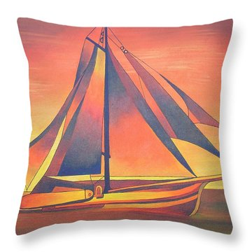 Throw Pillow featuring the painting Sienna Sails At Sunset by Tracey Harrington-Simpson