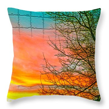 Sierra Sunset Cubed Throw Pillow