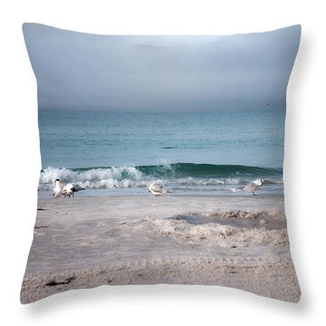 Siesta Key Morning Gulls Throw Pillow