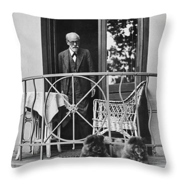 Sigmund Freud With His Chows Throw Pillow
