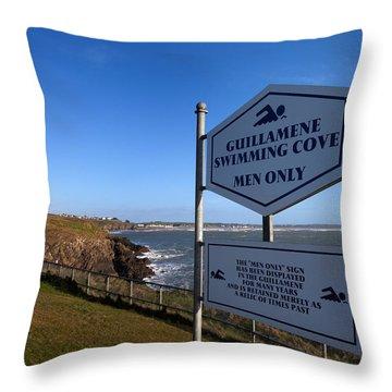 Sign At Guillamene Swimming Cove Throw Pillow