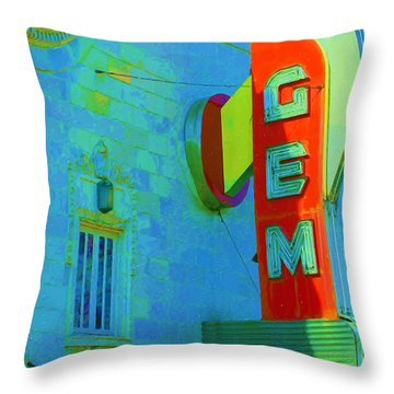 Sign - Gem Theater - Jazz District  Throw Pillow by Liane Wright