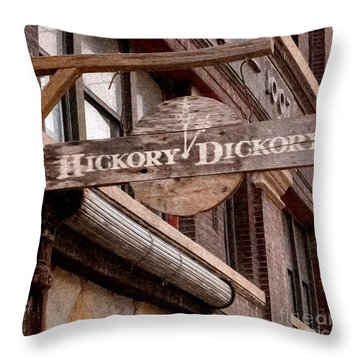 Sign - Hickory Dickory - West Bottoms Throw Pillow by Liane Wright