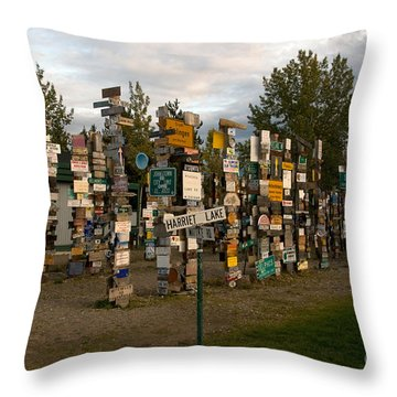 Sign Post Forest Throw Pillow by Mark Newman