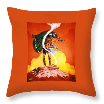 Throw Pillow featuring the painting Signal From The Mesa by Al Brown