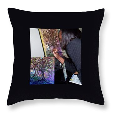 Signing The Tree With Jackie Joyner- Kersee  Throw Pillow by Eloise Schneider