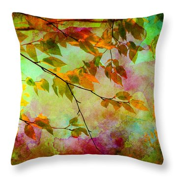 Throw Pillow featuring the digital art Signs Of Autumn by Nina Bradica