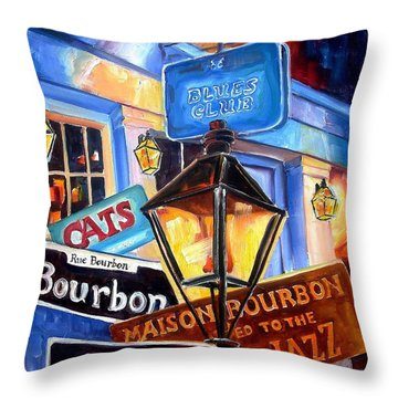 Signs Of Bourbon Street Throw Pillow by Diane Millsap