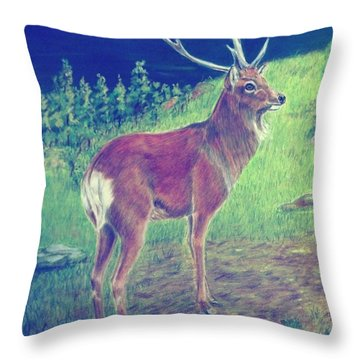 Sika Deer Throw Pillow by Ruth Seal