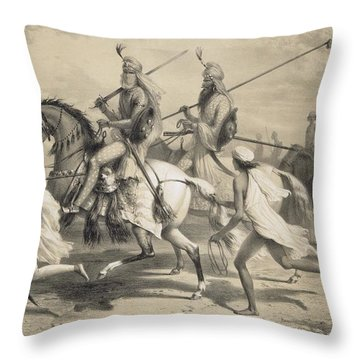 Sikh Chieftans Going Hunting Throw Pillow by A Soltykoff