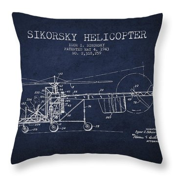 Sikorsky Helicopter Patent Drawing From 1943 Throw Pillow by Aged Pixel