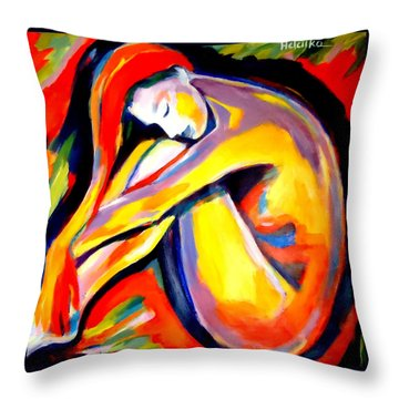 Throw Pillow featuring the painting Silence by Helena Wierzbicki