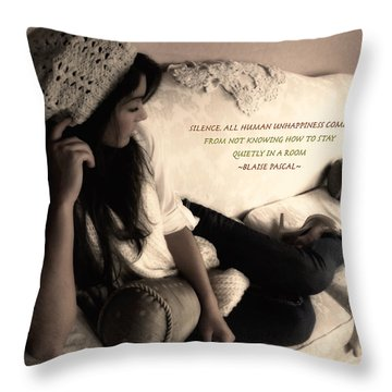 Silence Throw Pillow by Kristie  Bonnewell