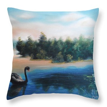 Throw Pillow featuring the painting Silence by Vesna Martinjak