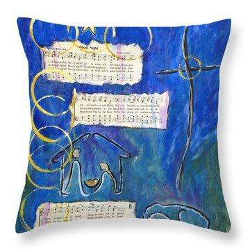 Silent Night A Holy Night - Original Painting By Ella Throw Pillow by Ella Kaye Dickey