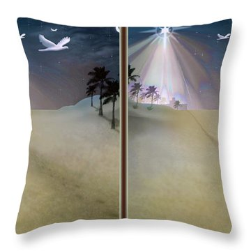Silent Night - Gently Cross Your Eyes And Focus On The Middle Image Throw Pillow by Brian Wallace