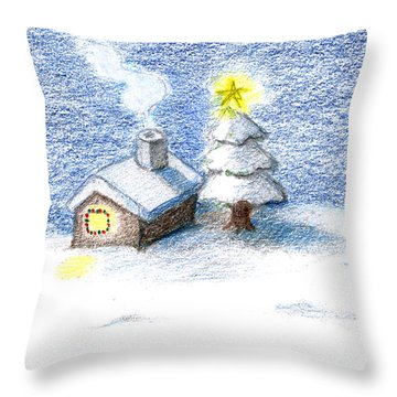 Silent Night Throw Pillow by Keiko Katsuta