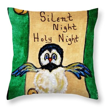 Silent Night - Whimsical Chickadee Choir Director Throw Pillow