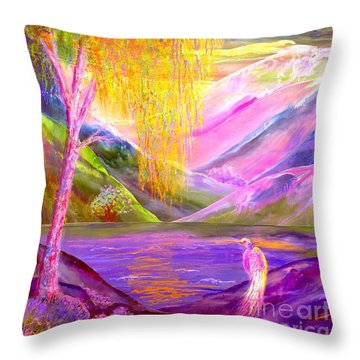Silent Waters, Silver Birch And Egret Throw Pillow