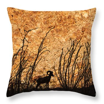 Silhouette Bighorn Sheep Throw Pillow
