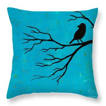 Silhouette Blue Throw Pillow