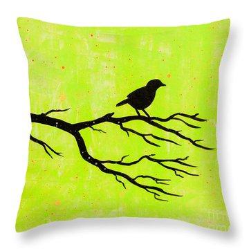 Silhouette Green Throw Pillow