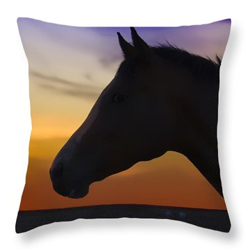 Silhouette Of A Horse At Sunset Throw Pillow by Wolf Shadow  Photography