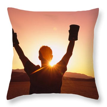 Silhouette Of A Person Wearing Boxing Throw Pillow