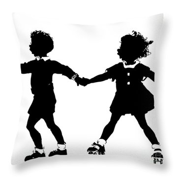 Throw Pillow featuring the digital art Silhouette Of Children Rollerskating by Rose Santuci-Sofranko