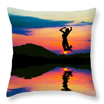 Silhouette Of Happy Woman Jumping At Sunset Throw Pillow