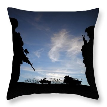 Silhouette Of Modern Soldiers  Throw Pillow by Matthew Gibson