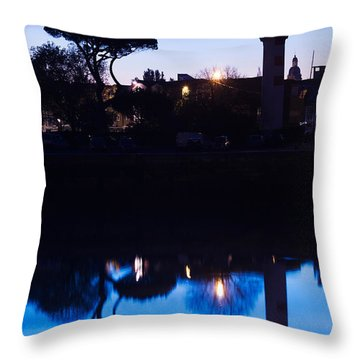 Silhouette Of Old Port Lighthouse Throw Pillow
