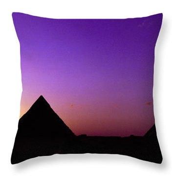Silhouette Of Pyramids At Dusk, Giza Throw Pillow