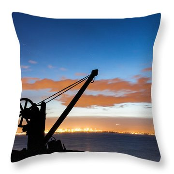 Silhouette Of The Davit In Dublin Port Throw Pillow by Semmick Photo