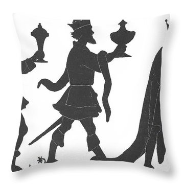 Silhouette Of Three Kings Throw Pillow by English School