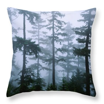 Silhouette Of Trees With Fog Throw Pillow
