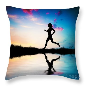 Silhouette Of Woman Running At Sunset Throw Pillow