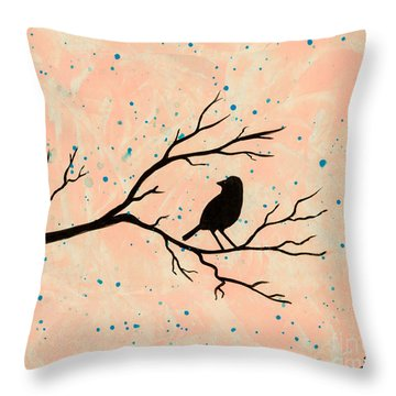 Silhouette Pink Throw Pillow