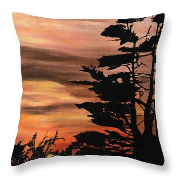 Throw Pillow featuring the painting Silhouette Sunset by Mary Ellen Anderson