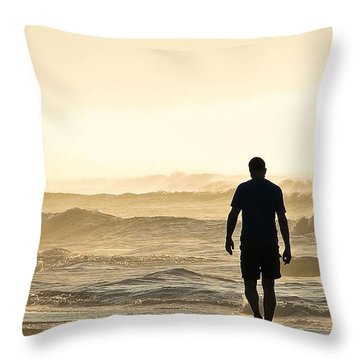 Silhouetted Father And Son Walk Beach  Throw Pillow