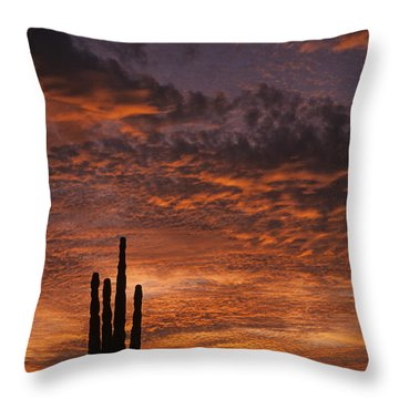 Silhouetted Saguaro Cactus Sunset At Dusk With Dramatic Clouds Throw Pillow