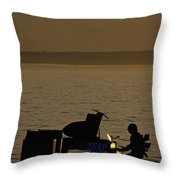 Silhouetted Sea Monster Playing Piano.tif Throw Pillow by Jim Corwin