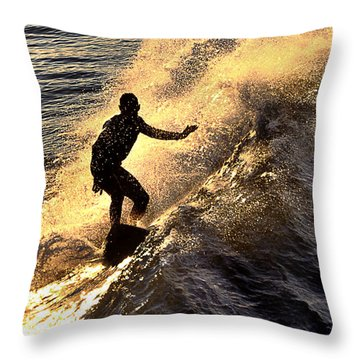 Silhouetted Surfer Throw Pillow
